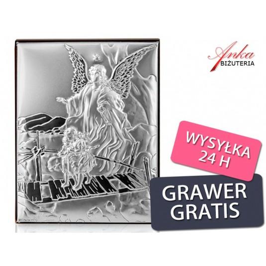 Srebrny obrazek - Anioł Stróż - Prezent dla Dziecka: Chrzest, Komunia, Rocznica-GRAWER