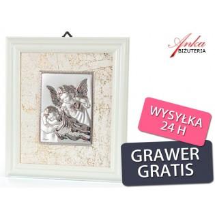 Niewykle subtelny obrazek srebrny w ramce - Aniołek z latarenką nad małym Aniołkiem :) GRAWER
