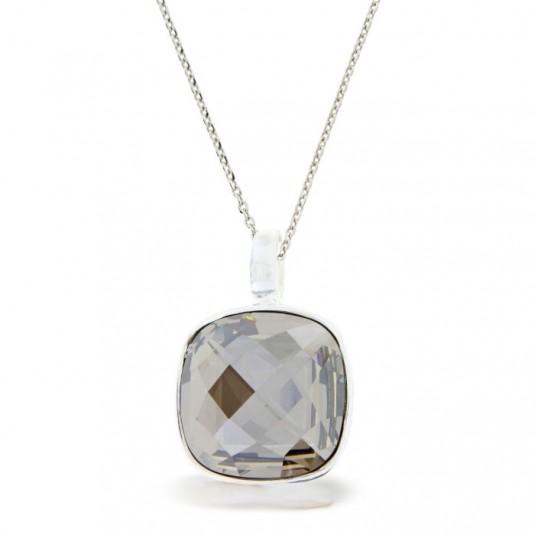 Swarovski-Wisior srebrny na łańcuszku z kryształem w kolorze Silver shadow -szary.