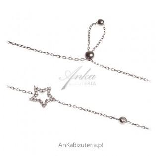 Modna biżuteria - bransoletka srebrna Gwiazdka