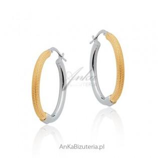 Kolczyki srebrne pozłacane Włoska biżuteria