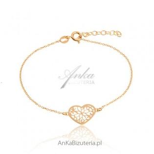 Biżuteria srebrna: Bransoletka złote ażurowe serce