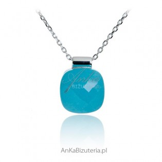 Biżuteria srebrna Naszyjnik z niebieskim agatem