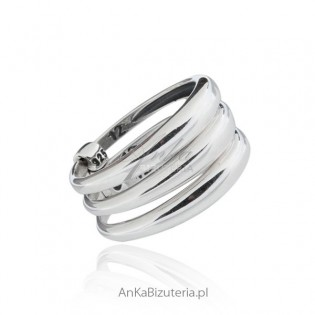 Modna biżuteria srebrna potrójny  pierścionek