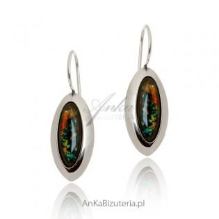 Kolczyki srebrne opal