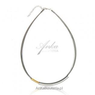 Modna biżuteria srebrna: Naszyjnik srebrny  srebrno-złoty