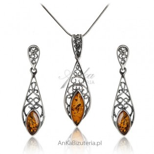 Biżuteria srebrna z bursztynem Komplet