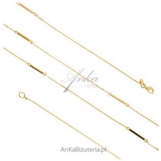 Biżuteria srebrna: Naszyjnik srebrny pozłacany  90 cm