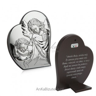"""Obrazek srebrny Aniołek w sercu 9 cm*10,7cm Modlitwa """"Aniele Boży.."""""""""""