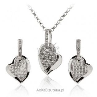 Piękny komplet biżuterii srebrnej z mikro cyrkoniami