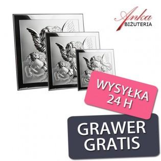 PAMIĄTKA CHRZTU - Obrazek Srebrny z Aniołkami -3 rozmiary