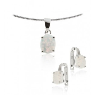 Biżuteria damska - Komplet z białym opalem