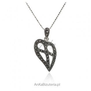 Srebrna biżuteria Zawieszka serce z markazytami
