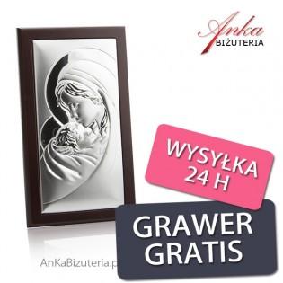 Obrazek srebrny Matka Boska z Dzieciątkiem  8 cm* 12 cm