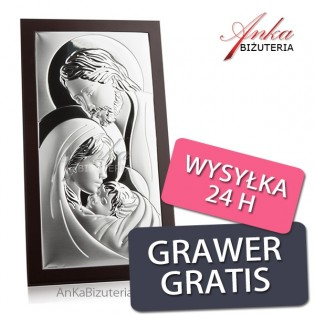 Srebrny obrazek Święta Rodzina  10 cm* 14 cm