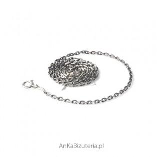 Łańcuszek srebrny anker diamentowany rodowany 0,5