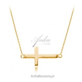 Duży krzyżyk poprzeczny złoty Modna biżuteria srebrna