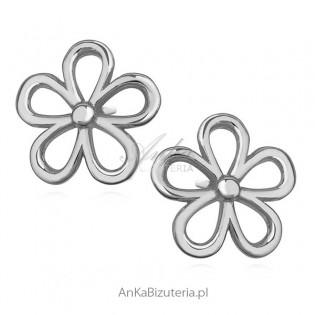 Kolczyki srebrne delikatne   kwiatuszki.