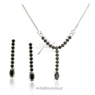 Komplet biżuterii srebrny z czarnymi cyrkoniami