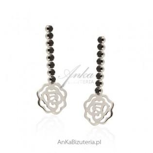 Kolczyki srebrne czarne cyrkonie - różyczki