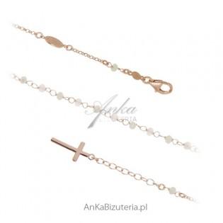 Bransoletka różaniec - Biżuteria srebrna pozłacana  z koralikami