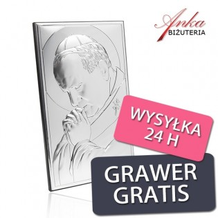 Srebrna pamiątka Papież Jan Paweł II Obrazki srebrne 6,5 cm x 11 cm