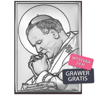 Święty Jan Paweł II w gorliwej modlitwie - Obrazek srebrny