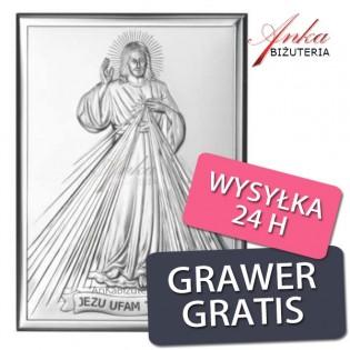 Ikona -Jezu Ufam Tobie - Obrazek Jezusa Miłosiernego 9 cm/13 cm