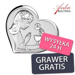 Pamiątka dla dziewczynki na Komunię - Obrazek srebrny 11*6,9 cm