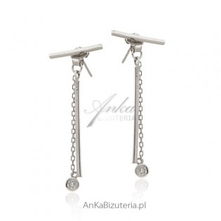 Kolczyki srebrne z łańcuszkiem i pałeczką