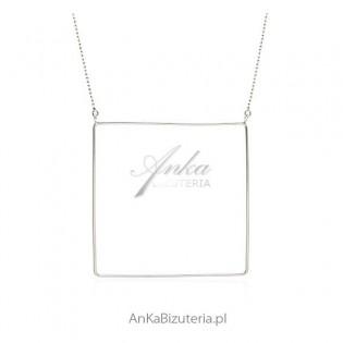 Geometryczna biżuteria damska _srebrny naszyjnik
