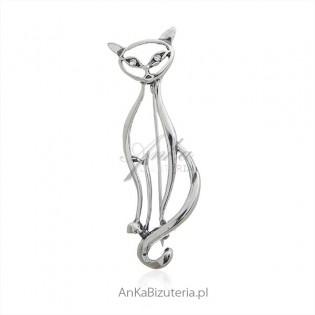 Broszka srebrna duży dumny kot