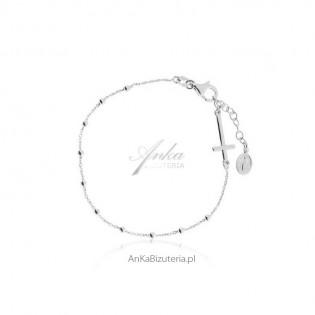 Bransoletka srebrna różaniec - biżuteria rodowana - Produkt włoski