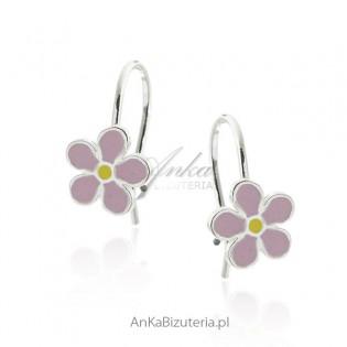 Kolczyki srebrne dziecięce - różowe kwiatki