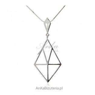 Naszyjnik srebrny - Geometric design