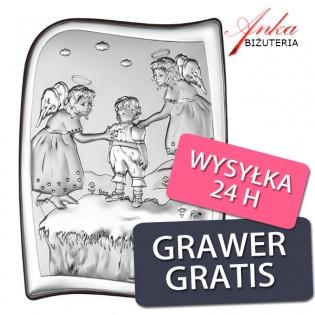 Obrazek srebrny Aniołki czuwające nad dzieckiem na skarpie 9,5 cm*13 cm