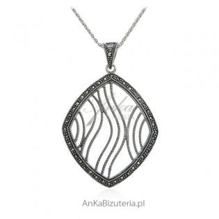 Zawieszka srebrna z markazytami - Biżuteria srebrna