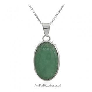 Zawieszka srebrna z zielonym jadeitem - Klasyczna biżuteria z kamieniami naturalnymi