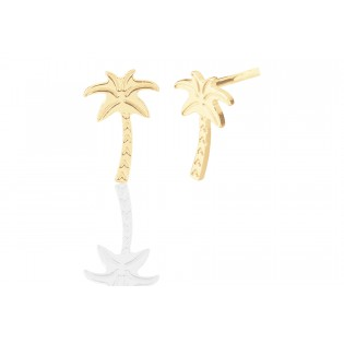 Kolczyki srebrne pozłacane - subtelne palmy