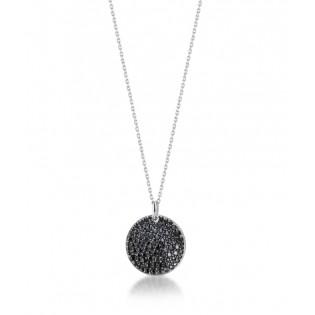 Naszyjnik srebrny  z czarnymi cyrkoniami - kolekcja Modulo Dall'Acqua