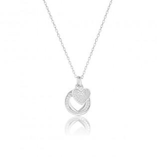 Naszyjnik srebrny serduszka z cyrkoniami - biżuteria srebrna włoska