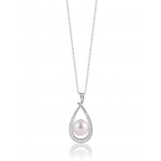 Zawieszka srebrna z perełką i cyrkoniami Biżuteria srebrna Dall Acqua