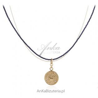 Biżuteria srebrna - BOSKA - naszyjnik z szafirami syntetycznymi