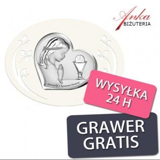 Komunia Święta - Pamiątka dla dziewczynki na Komunię - Obrazek srebrny