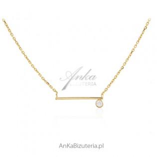 Pozłacany naszyjnik srebrny z cyrkonią - Elegancka biżuteria