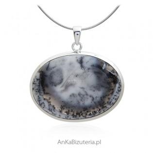 Zawieszka srebrna z pięknym naturalnym  kamieniem DENDRITE