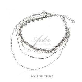 Srebrna biżuteria - bransoletka kuleczki diamentowane  - piękna koronkowa włoska praca!