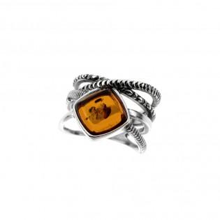 Pierścionek srebrny z bursztynem  oksydowany - Śliczny, ponadczasowy.