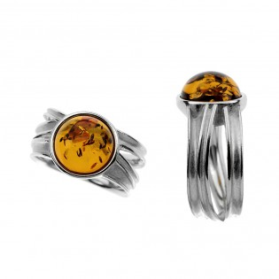 Srebrny pierścionek z bursztynem  - NA FALACH