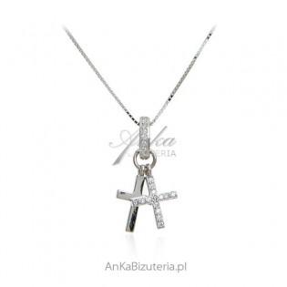 Naszyjnik srebrny z krzyżykami - biżuteria włoska